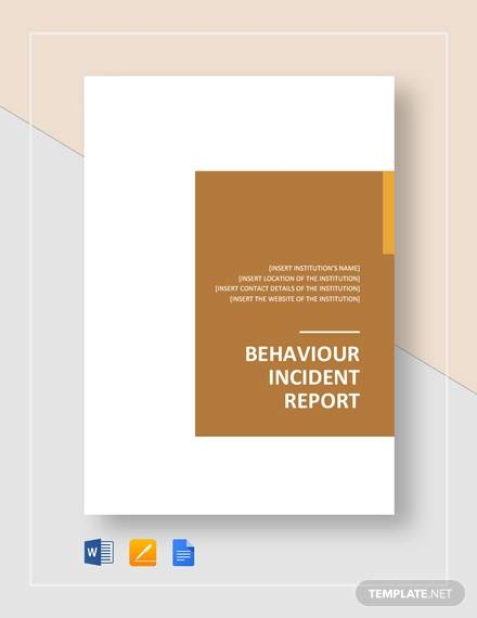 behaviour incident report