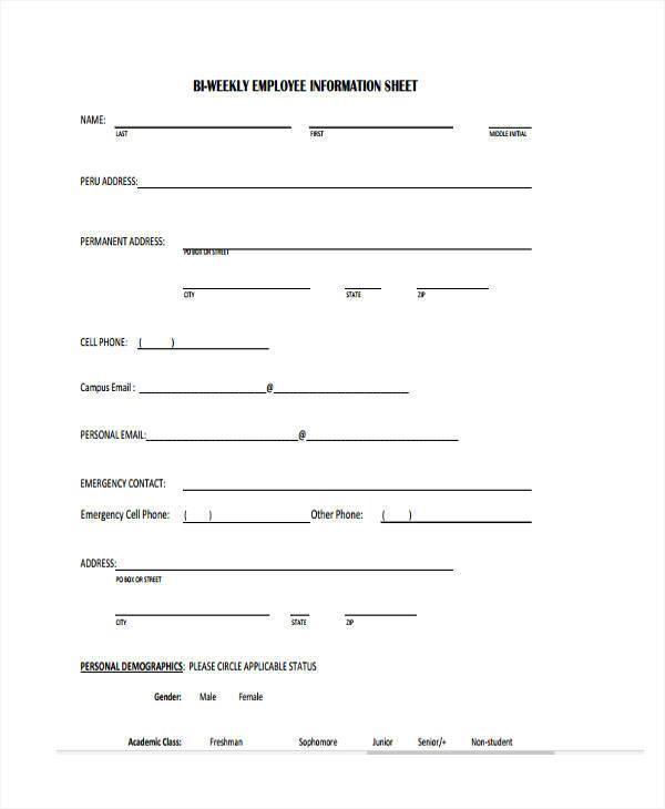 bi weekly employee information sheet