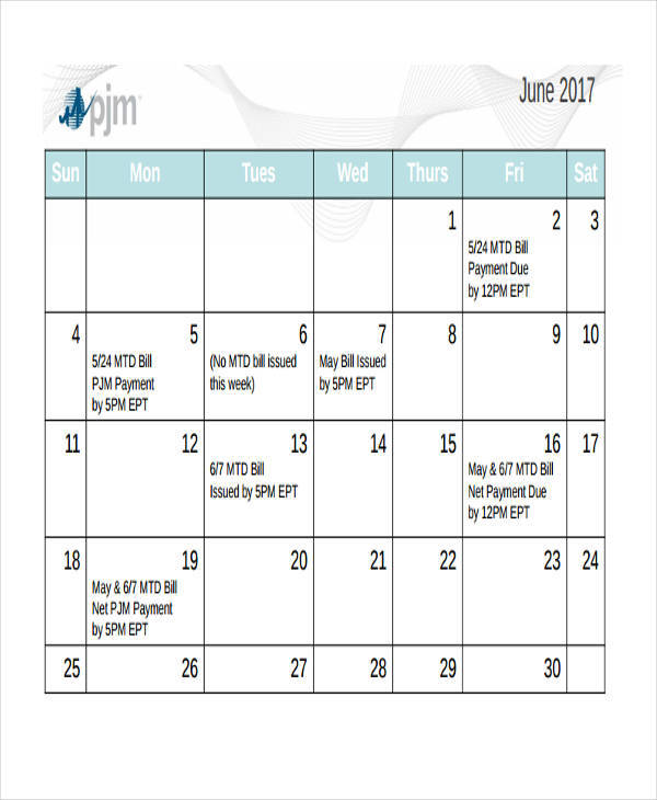Bill Calendar Templates  Free Sample Example Format Download