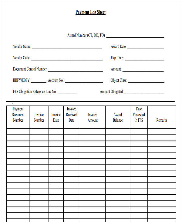 52 printable log sheet templates sample templates