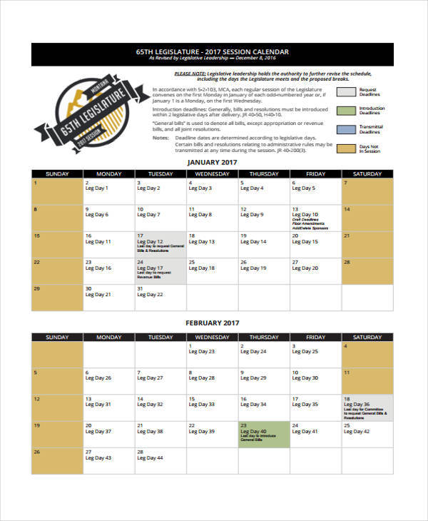 bill session calendar
