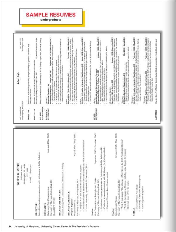 biotechnology undergraduate resume