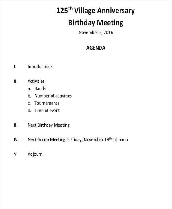 birthday meeting agenda
