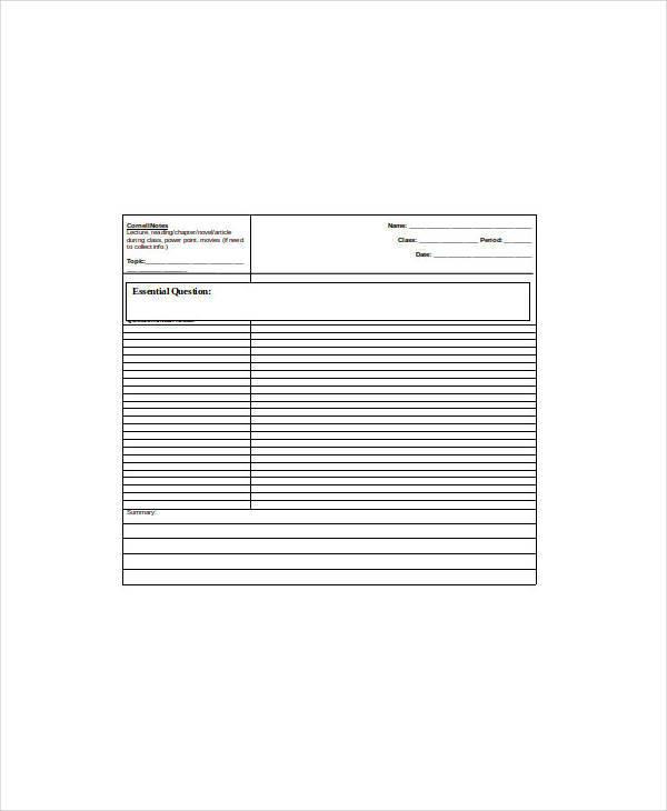 blank cornell note