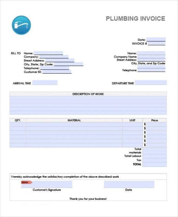 Blank Plumbing Invoice  Plumbers Invoice Template