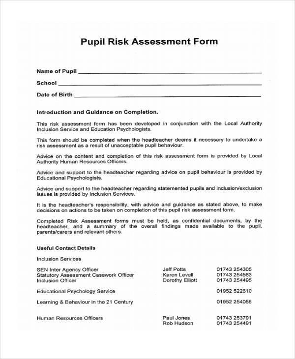 blank pupil risk assessment form