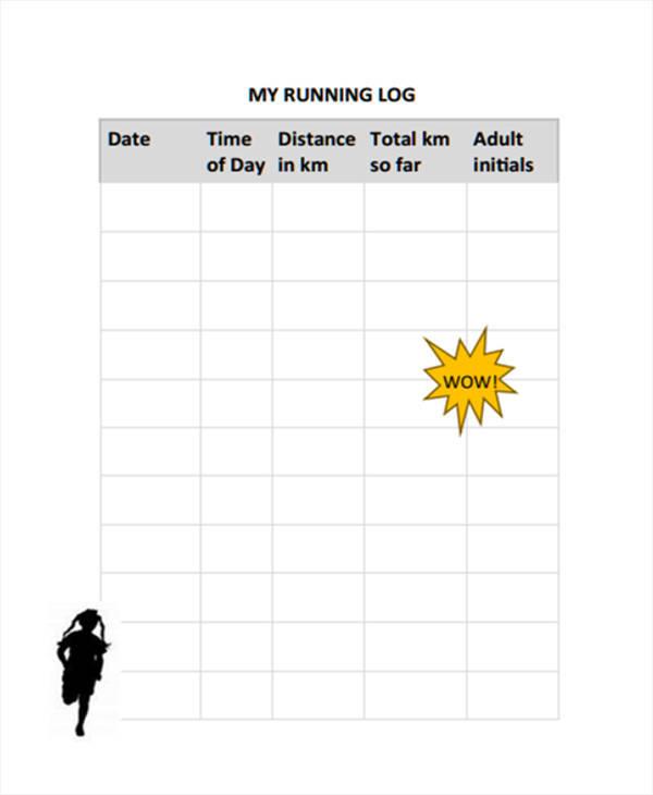 blank running log