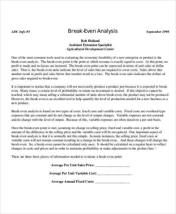 break even sales analysis