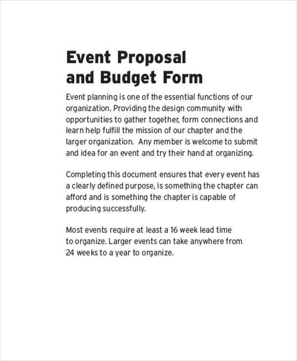 budget event proposal