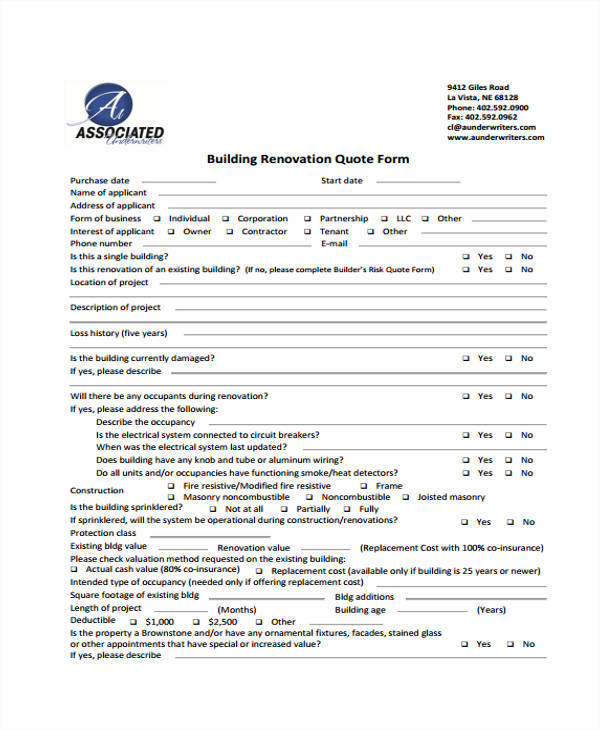 builder renovation quotation form