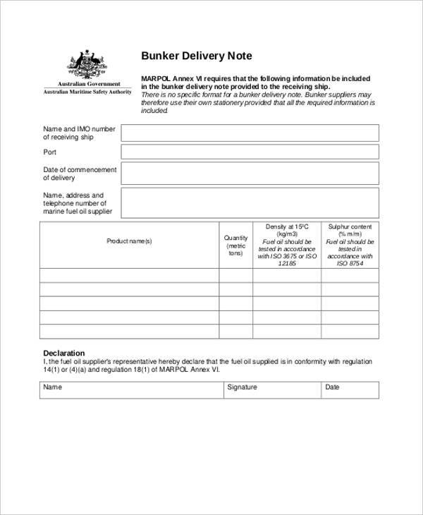 delivery note template word