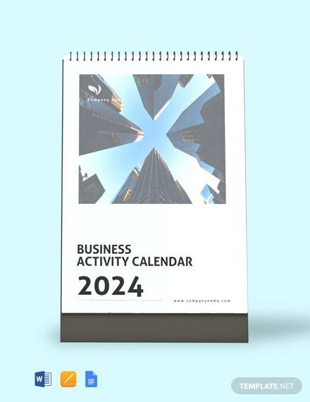 business activity desk calendar template