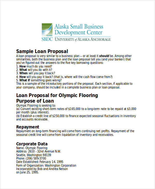 Business proposal for bank loan