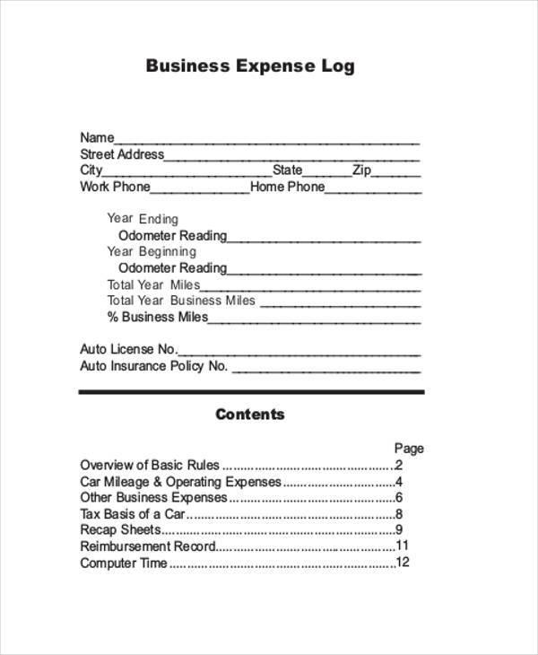 business expense log sheet