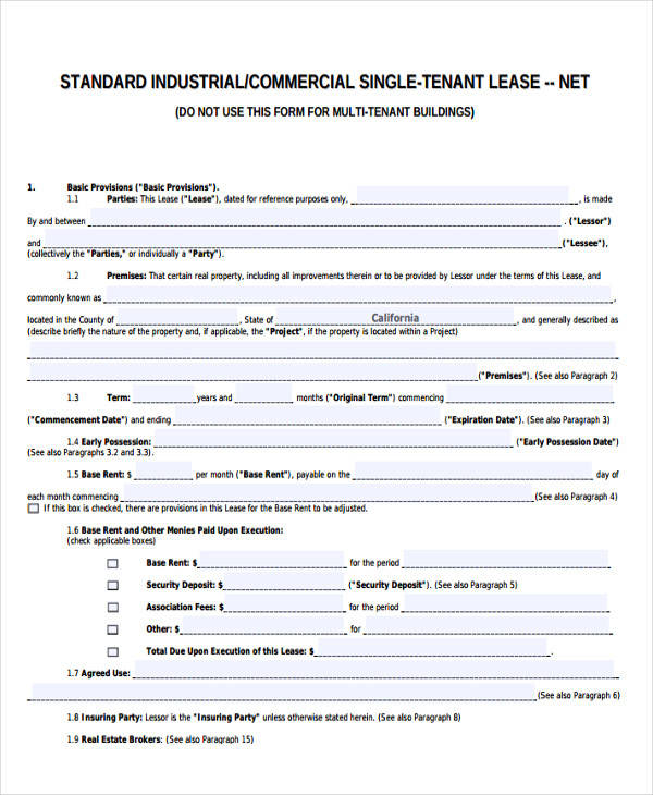 business lease agreement form
