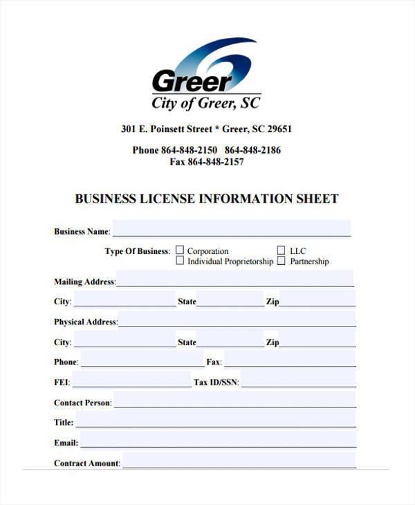 business license information sample sheet