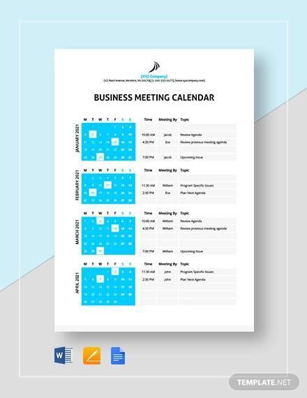 business meeting calendar template