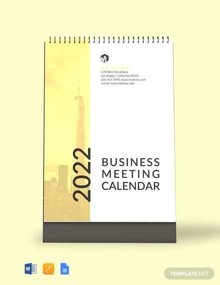 business meeting desk calendar template