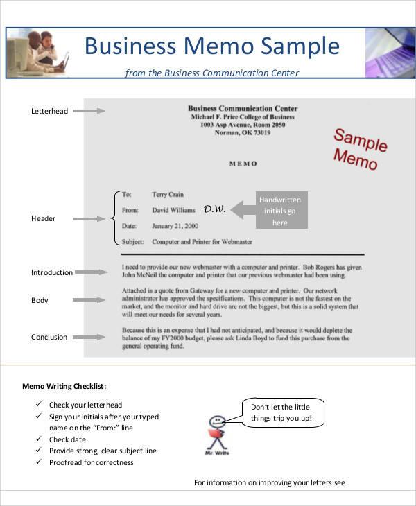 business memo format