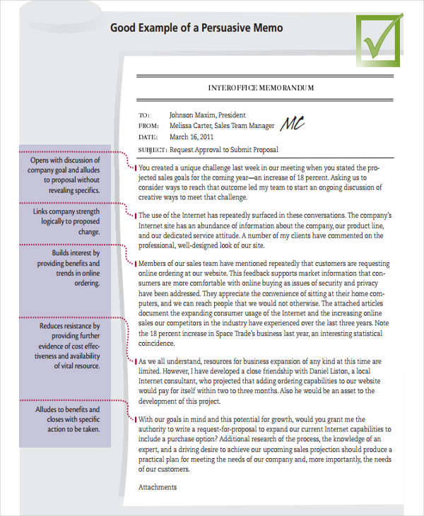 9 business memo templates examples in word pdf for Persuasive memo template