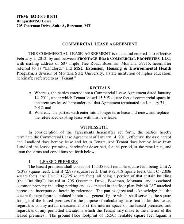 Business Lease Agreement. A Contract Between A Tenant And A Landlord ...