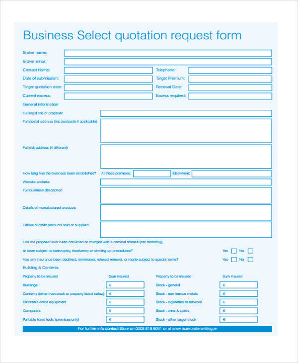 business quotation form