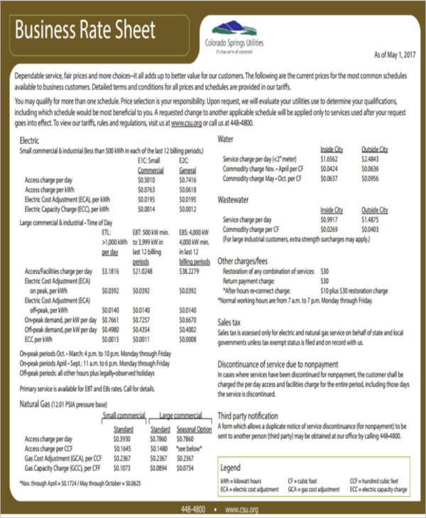 business rate sheet1