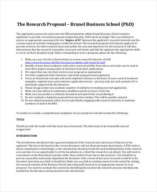 business research sample proposal