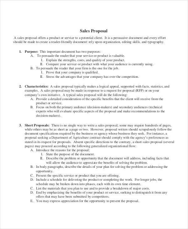 business sales sample proposal