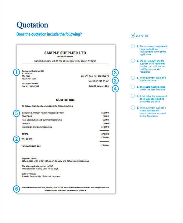 business supplier quotation