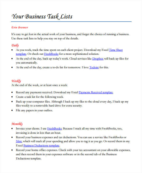 business task list format