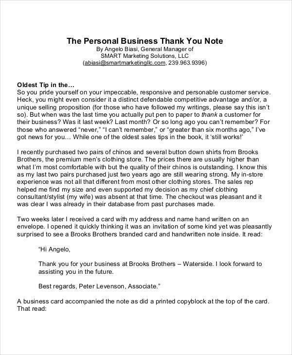 business thank you note