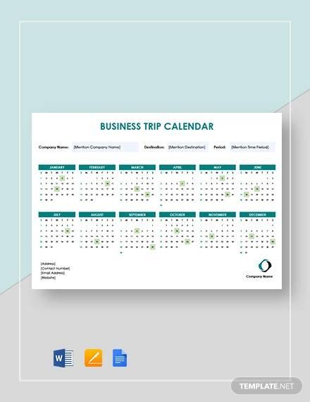 business trip calendar template