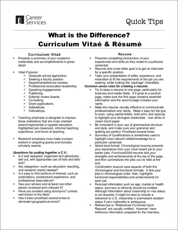 Cv Vs. Resume - Here Are The Differences