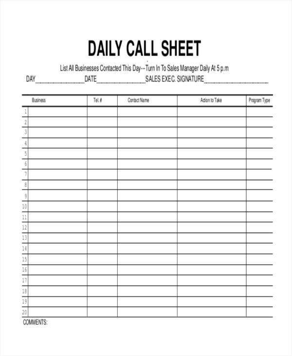Free 17 Call Log Templates In Pdf