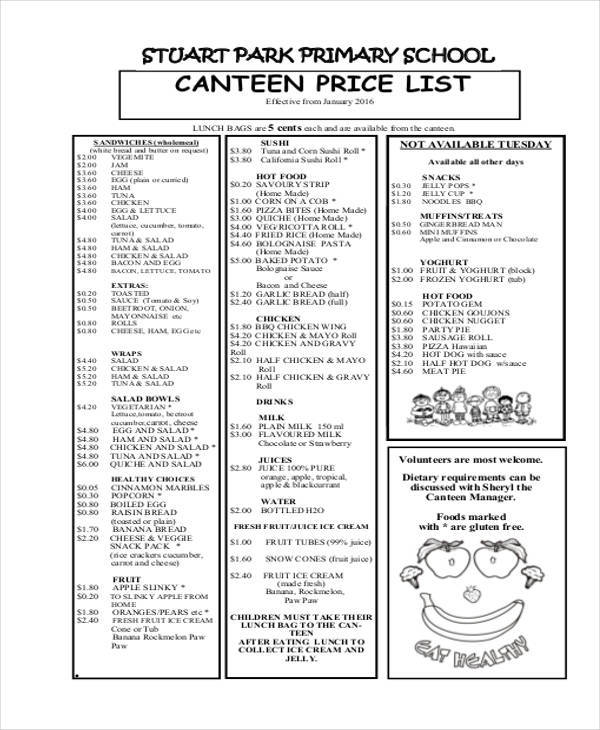 canteen price list
