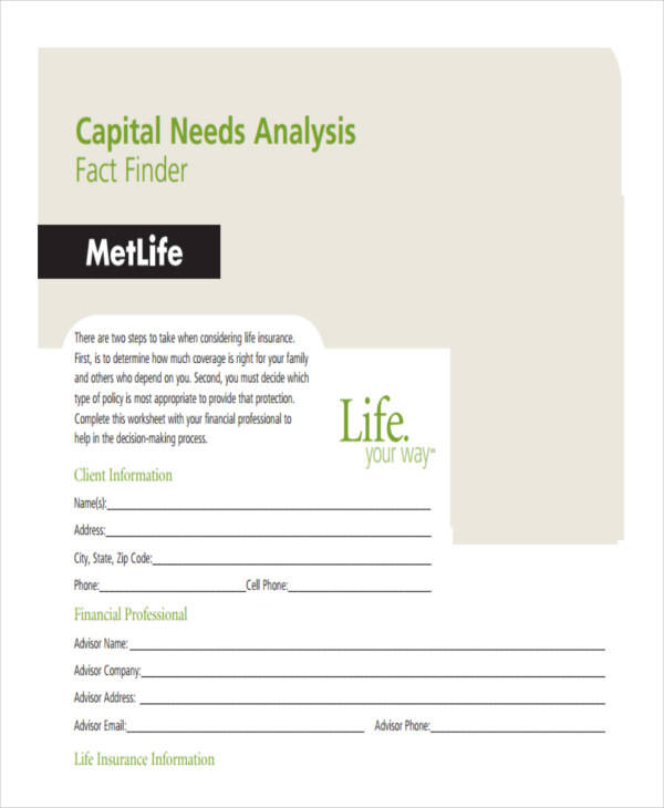 capital needs analysis