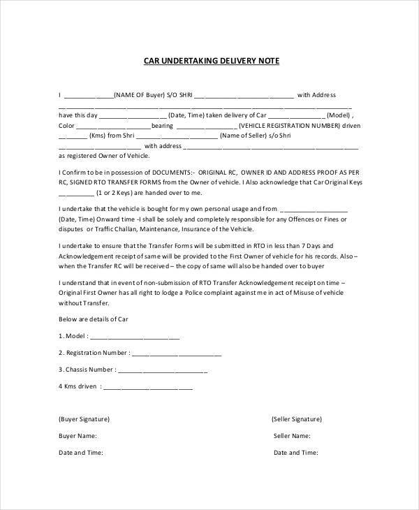 car delivery note
