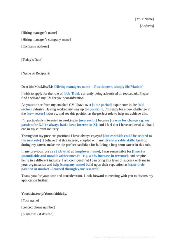Career Change Cover Letter Template  Career Change Cover Letter Examples