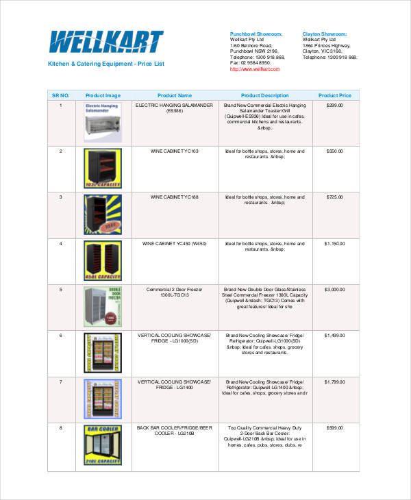 catering equipment price list