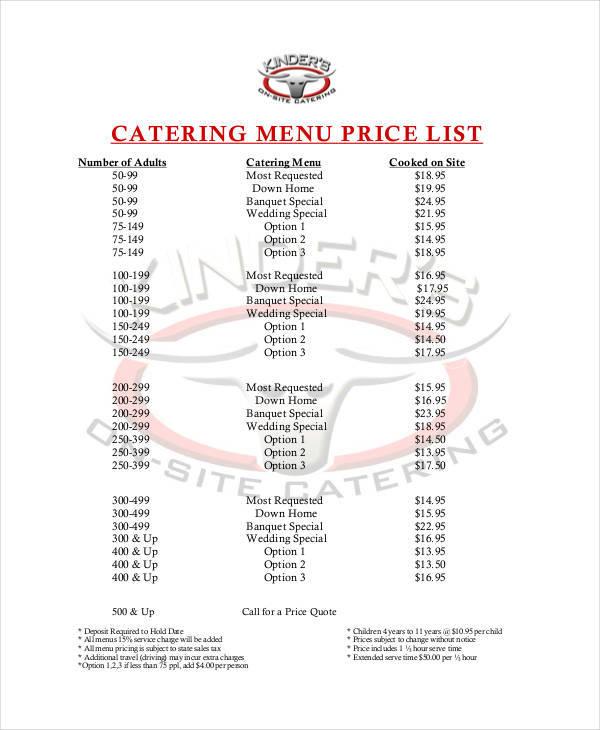 catering menu price list