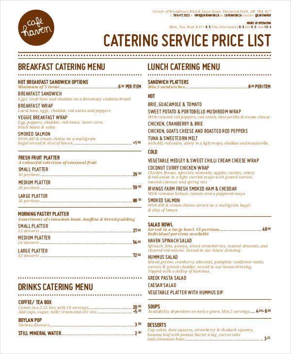 catering service price list