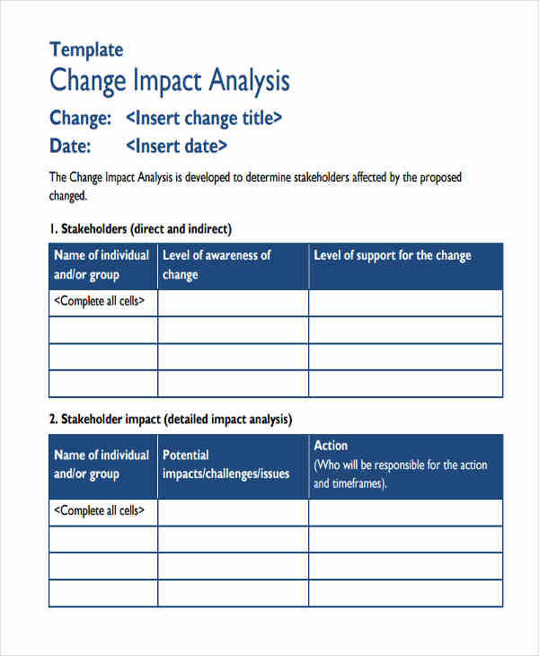 8 impact analysis examples in word pdf sample templates for Change impact assessment template