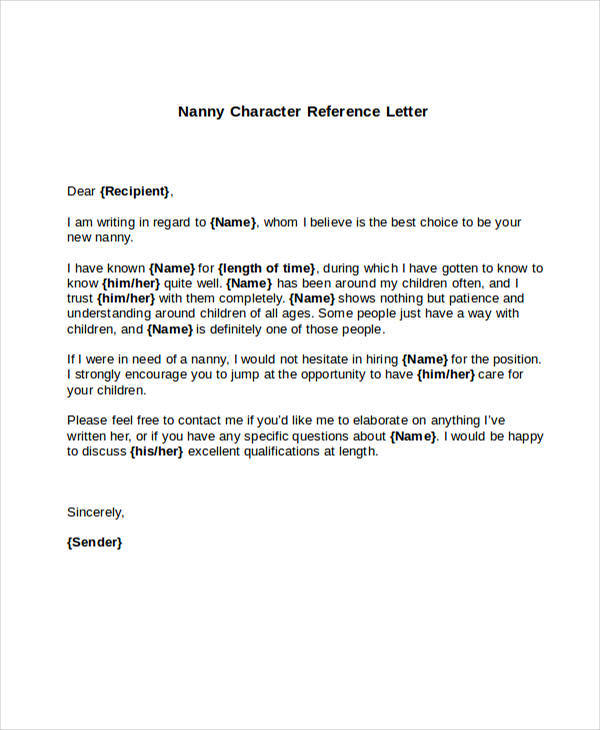 Character Reference Letter For Nanny