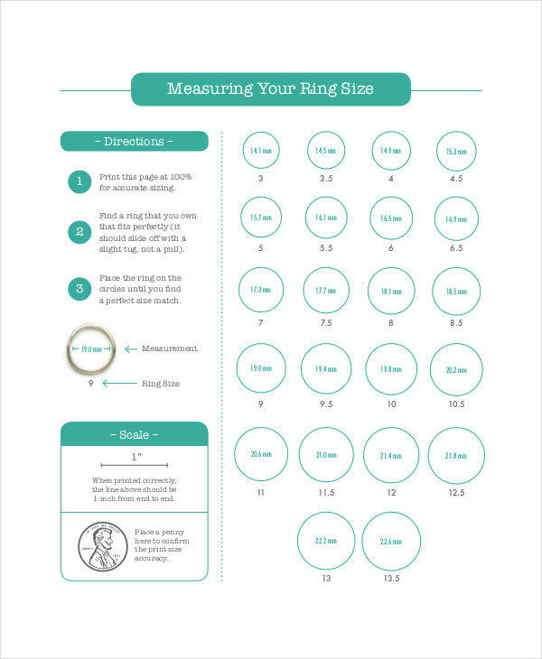 chart for ring measurement