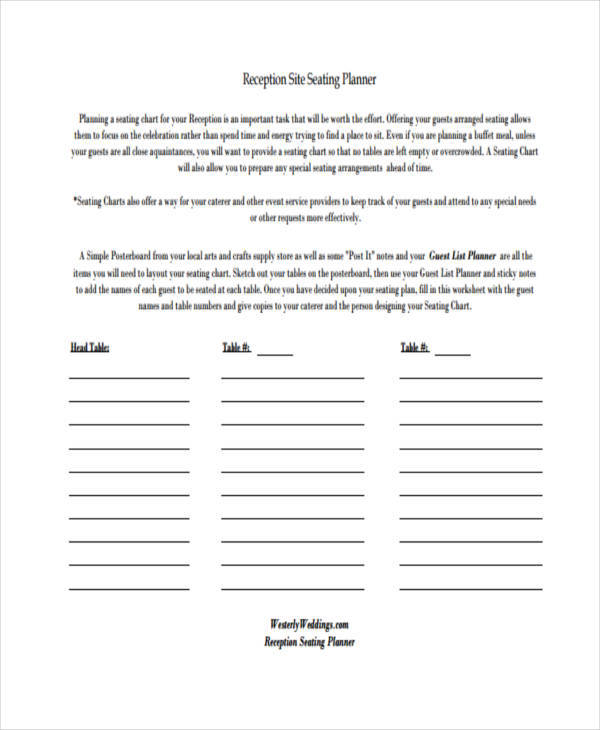 chart for wedding reception seating