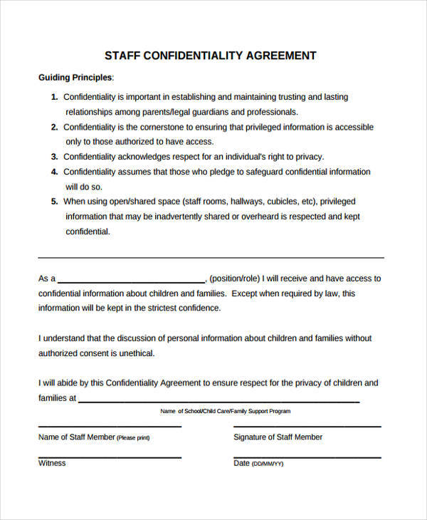 Child Care Staff Confidentiality Agreement