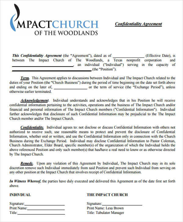 church financial agreement