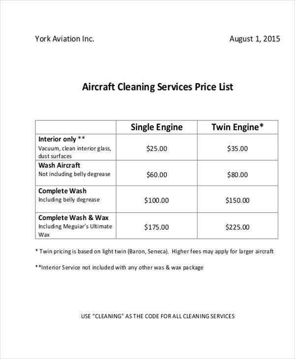 Cleaning Service List Template