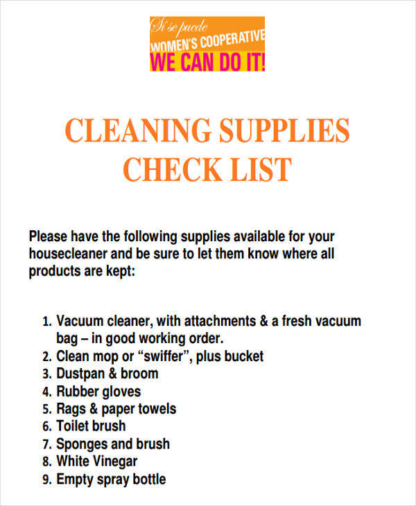 cleaning supplies list1